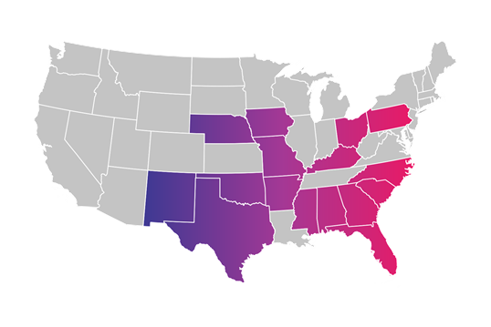 United States map with states highlighted where Kinetic Gig is available